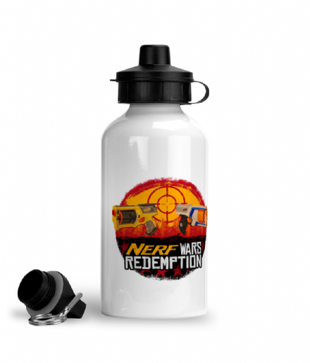 Nerf Wars Redemption Aluminium Sports Exercise Water Bottle (Red Dead Parody)